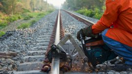 Track maintenance in progress tp prevent Railroad Accidents